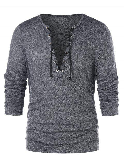 Plunging Neck Lace Up T-shirt - GRAY M