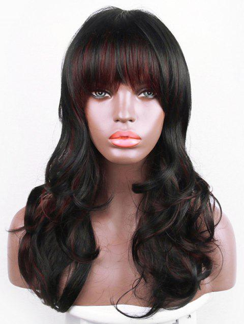 Long Colormix Full Bang Slightly Curly Synthetic Wig - multicolor