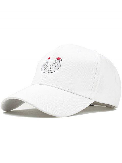 Love Heart Gestures Embroidery Snapback Hat - WHITE