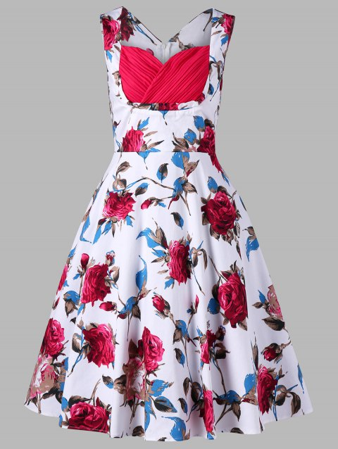 Floral Printed Sleeveless 1950s Dress - FLORAL XL