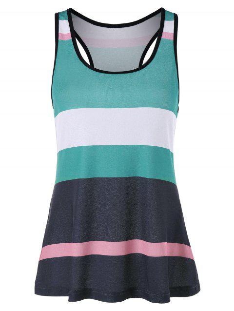 H Back Striped Tank Top - COLORMIX XL