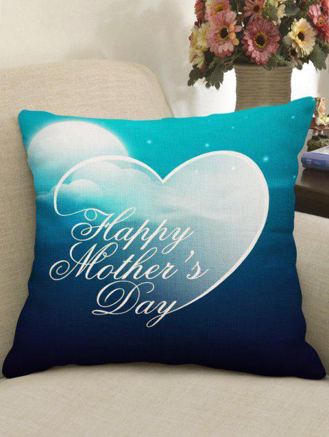 Housse de Coussin Motif Cœur avec Inscription Happy Mother's Day Décor Maison - multicolor W18 INCH * L18 INCH