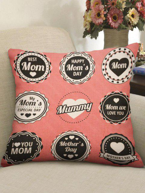 Mother's Day Gift Letters Print Throw Pillow Case - multicolor W18 INCH * L18 INCH