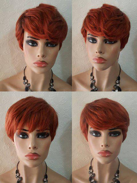 Short Layered Side Bang Straight Synthetic Party Wig - CHESTNUT RED