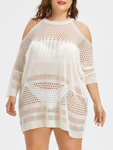 See Through Plus Size Fringed Crochet Cover Up - WHITE ONE SIZE