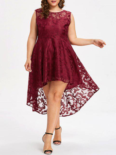 Plus Size Sleeveless Lace Party Dress - RED 1X