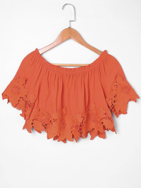 Elastic Shoulder Flower Trim Crop Top - PAPAYA ORANGE M