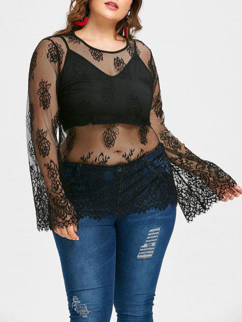 Plus Size Lace Blouse with Cropped Tank - BLACK 2X