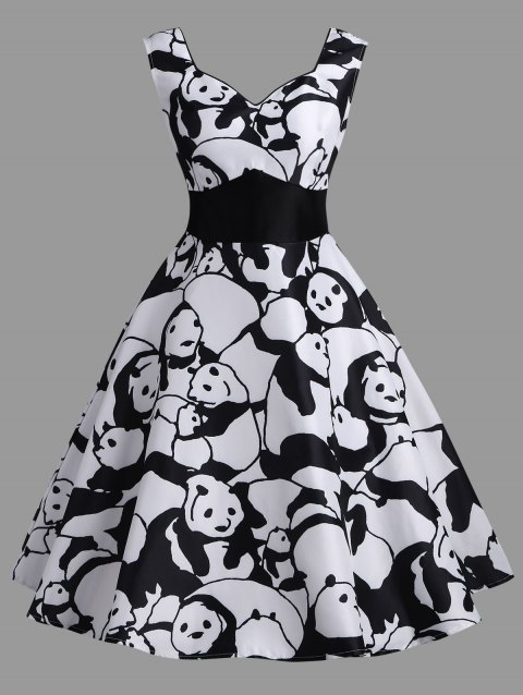 Panda Print Sweetheart Neck Vintage Dress - WHITE XL