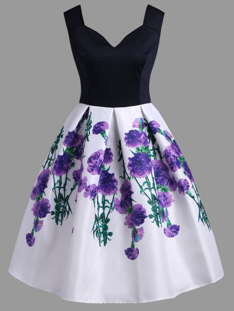 A Line Vintage Floral Sleeveless Dress - TYRIAN PURPLE L