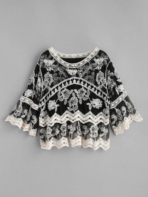 Embroidered Crochet Panel Top - BLACK ONE SIZE