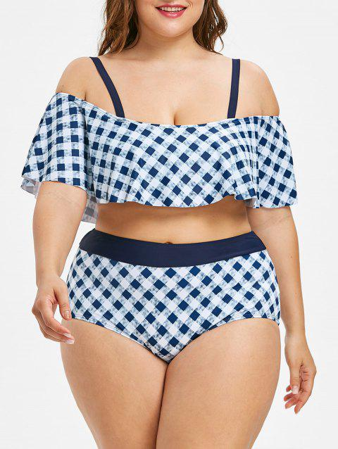 High Waisted Plus Size Plaid Bikini Set - multicolor 3X