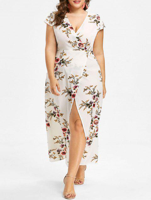 34 Off 2018 Slit Plus Size Plunge Floral Maxi Dress In White 3x