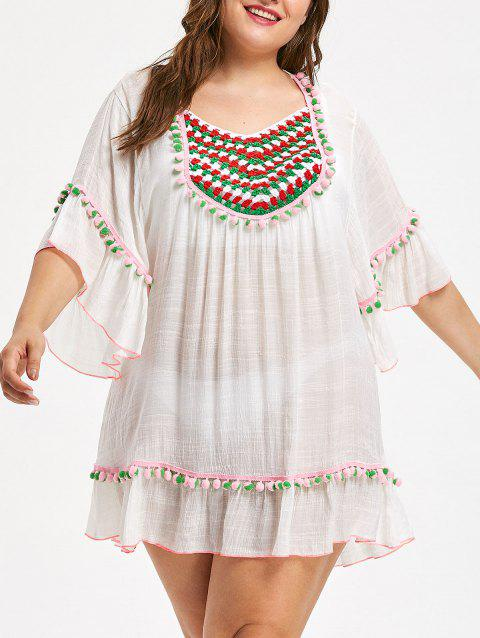 Flounce Pompom Trim Plus Size Tunic Cover Up - WHITE ONE SIZE