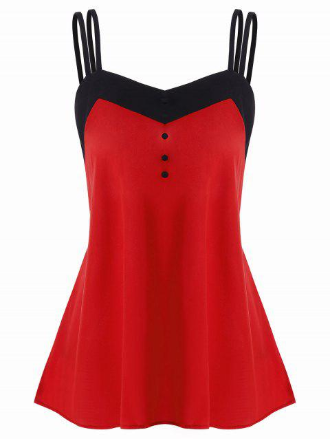 Color Trim Spaghetti Strap Backless Tank Top - RED M