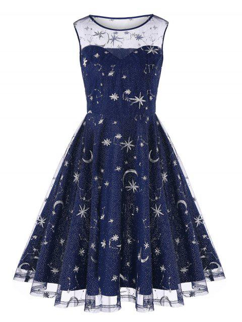 Vintage Mesh Panel Moon Stars Embroidered Flare Dress - BLUE XL