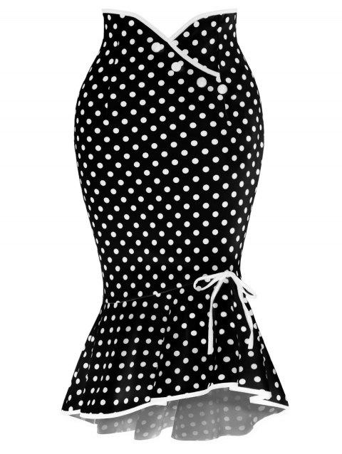 Polka Dot Flounced Fishtail Skirt - BLACK L