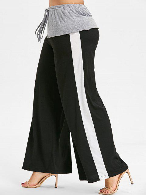 High Waist Plus Size Wide Leg Pants - BLACK 1X