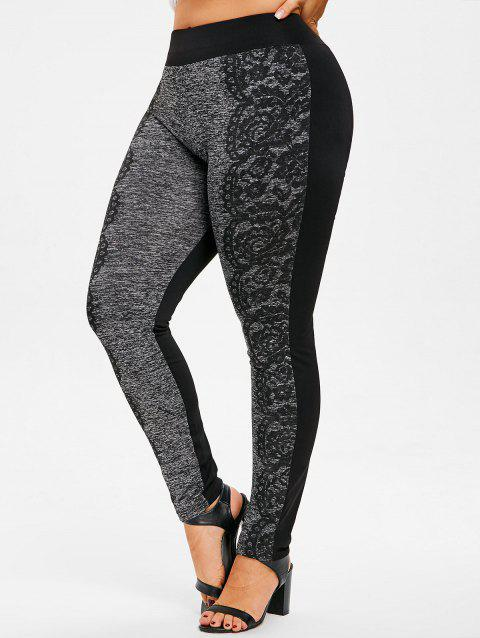 Plus Size Printed Fitted Pants - GRAY L