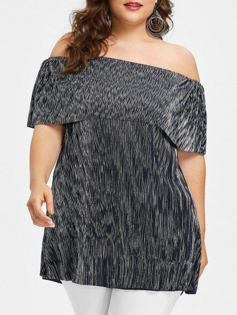Plus Size Sparkly Overlay Off Shoulder Tee - BLUE 4X