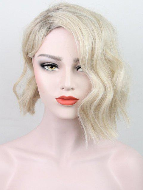 Short Side Bang Natural Wavy Colormix Synthetic Wig - ANTIQUE WHITE