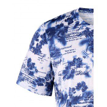 Letter Tiny Floral Crew Neck T-shirt - BLUE L