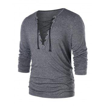 Plunging Neck Lace Up T-shirt - GRAY L