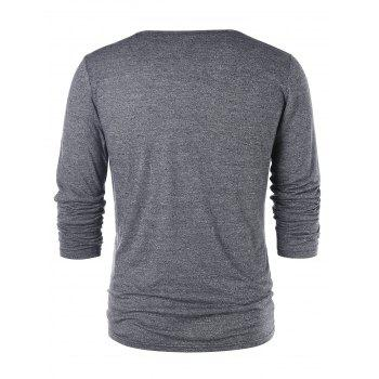 Plunging Neck Lace Up T-shirt - GRAY XL