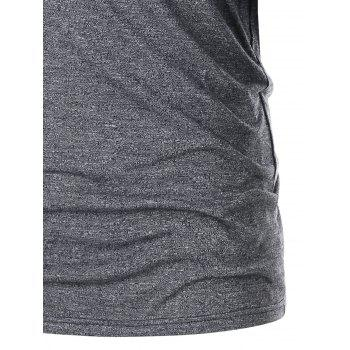 Plunging Neck Lace Up T-shirt - GRAY 2XL