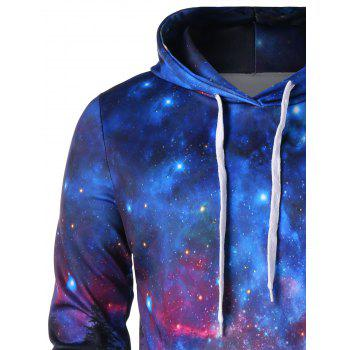 Front Pocket Drawstring Starry Sky 3D Print Hoodie - multicolor M