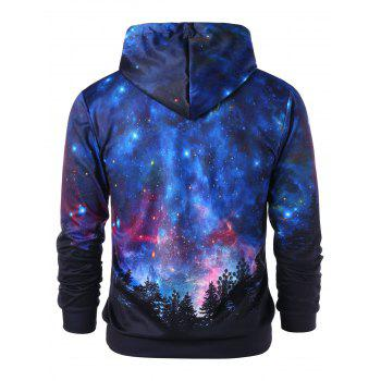 Front Pocket Drawstring Starry Sky 3D Print Hoodie - multicolor 2XL