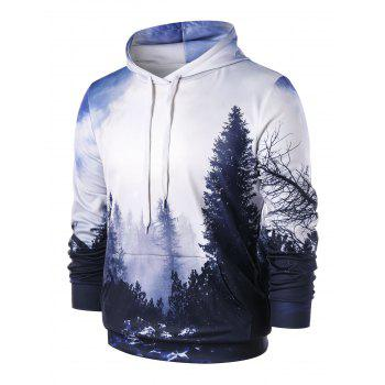 3D Forest Kangaroo Pocket Hoodie - WHITE 2XL