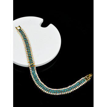 Two Tone Rhinestone Link Chain Bracelet - WINDOWS BLUE