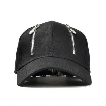 Statement Punk Double Zippers Trucker Hat - BLACK