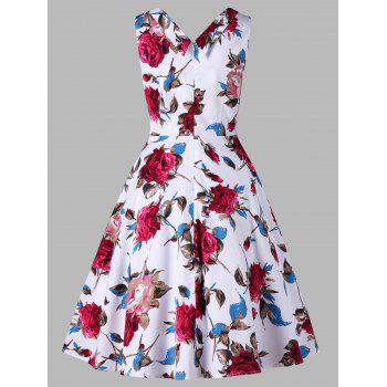 Floral Printed Sleeveless 1950s Dress - FLORAL M