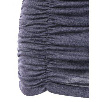 Sweetheart Neck Crochet Panel Ruched Tank Top - GRAY L