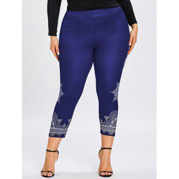 Plus Size Tribal Print Ninth Leggings - DEEP BLUE XL
