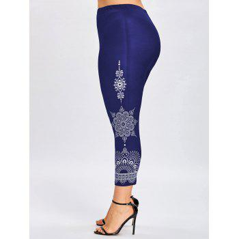Plus Size Tribal Print Ninth Leggings - DEEP BLUE 2XL