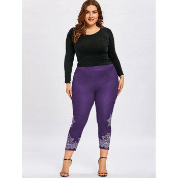 Plus Size Tribal Print Ninth Leggings - PURPLE 5XL