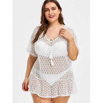 Plus Size Flounce Trim See Through Cover Up - WHITE ONE SIZE