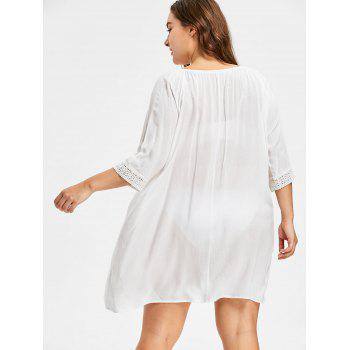 Sheer Cut Out Crochet Panel Plus Size Cover Up - WHITE ONE SIZE