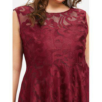 Plus Size Sleeveless Lace Party Dress - RED 2X