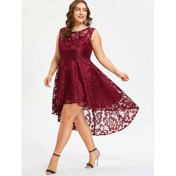 Plus Size Sleeveless Lace Party Dress - RED 3X