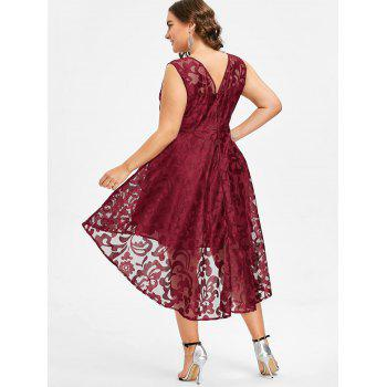 Plus Size Sleeveless Lace Party Dress - RED 4X