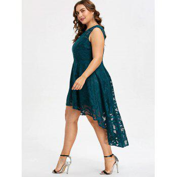 Plus Size Sleeveless Lace Party Dress - GLACIAL BLUE ICE 2X