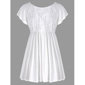 Lace Panel Empire Waist Tunic Blouse - WHITE L
