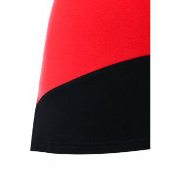Color Block Round Neck T-shirt - BLACK/RED XL