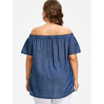Plus Size Off The Shoulder Chambray Blouse - DENIM DARK BLUE L