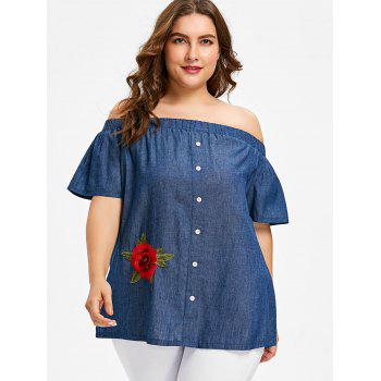 Plus Size Off The Shoulder Chambray Blouse - DENIM DARK BLUE 4X