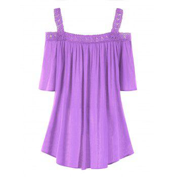 Plus Size Open Shoulder Blouse - MAUVE 2XL